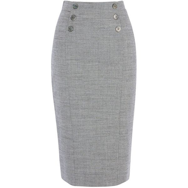 TAILORED SKIRT ($155) ❤ liked on Polyvore featuring skirts, gray skirt, button skirt, pencil skirt, grey wool skirt and knee length pencil skirt