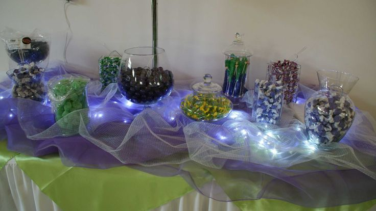 Candy station wedding reception purple and green, Designs by Diana