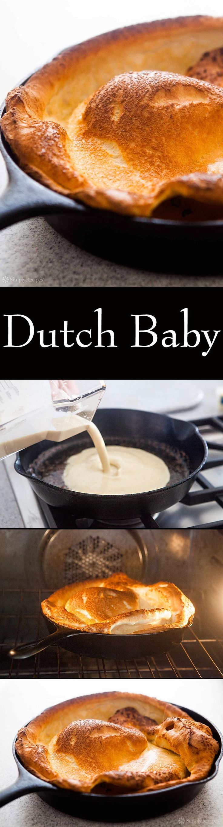 Perfect for breakfast! Dutch Baby aka German pancake. The batter goes into a hot pan and into the oven, puffs up like yorkshire pudding! On SimplyRecipes.com