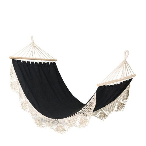 Just wonderful for your patio or garden, this rather relaxing fringed Macrame single hammock in sturdy natural and black cotton canvas will be the most sought after hang out all summer.