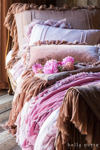 Bella Notte linens pretty frilly feminine pink bed