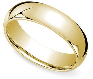 6 mm Yellow gold wedding band