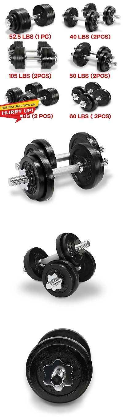 Dumbbells 137865: Cast Iron Adjustable Dumbbells Set Cap Gym Weight Plate Fitness 40 Lbs - ²D2cld BUY IT NOW ONLY: $41.99