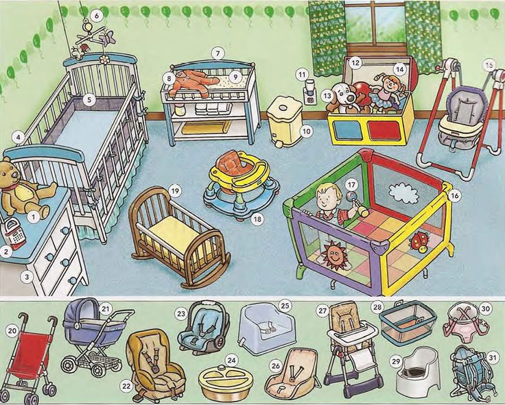 Learning the vocabulary for items in a babies room