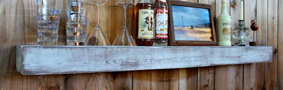 Home Decor - Wet Bar Shelf - 48 Inches - Reclaimed Wood - Whitewashed Gray - Floating - Wall Hanging - Farmhouse Chic - Shelves on Etsy, 102,47 €