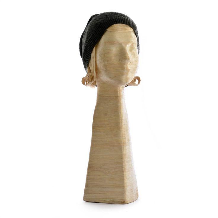 Hutständer Frauenkopf Karla mit Haar S, ca. 56 cm natur