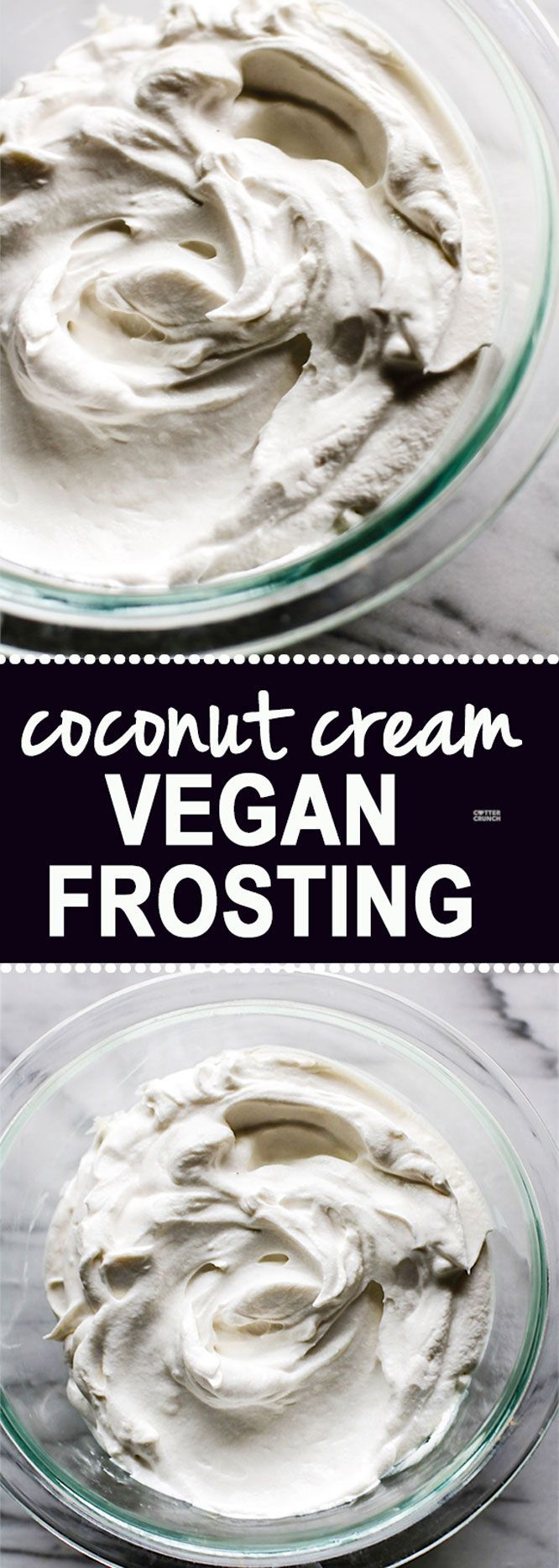 How to Make Gluten Free Fluffy Coconut Cream Vegan Frosting! It literally takes 2 ingredients and just one method. This coconut cream vegan frosting is super delicious, healthy, paleo friendly, and did I mention EASY?! Yes! SIMPLE to make @cottercrunch