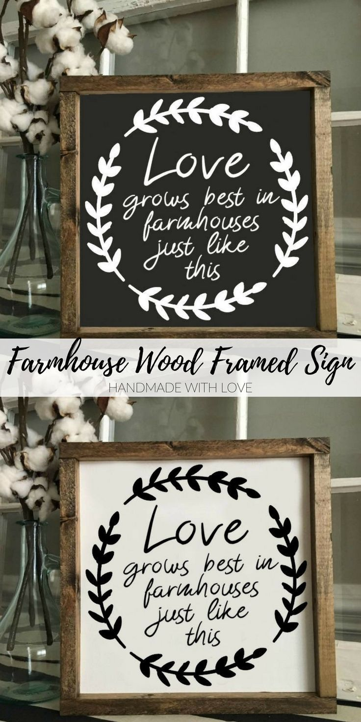 This 'Love Grows Best In Farmhouses Just Like This' sign would be a great addition to your home décor or even a great gift.    Wood Framed Sign   Rustic Decor   Farmhouse Style Decor   Handwritten Font   Gallery Wall   Wall Hanging #reclaimedwood #farmhousekitchen #etsyseller #handmade #farmhousedecor #woodsigns #farmhousesign #diyhomedecor #ad