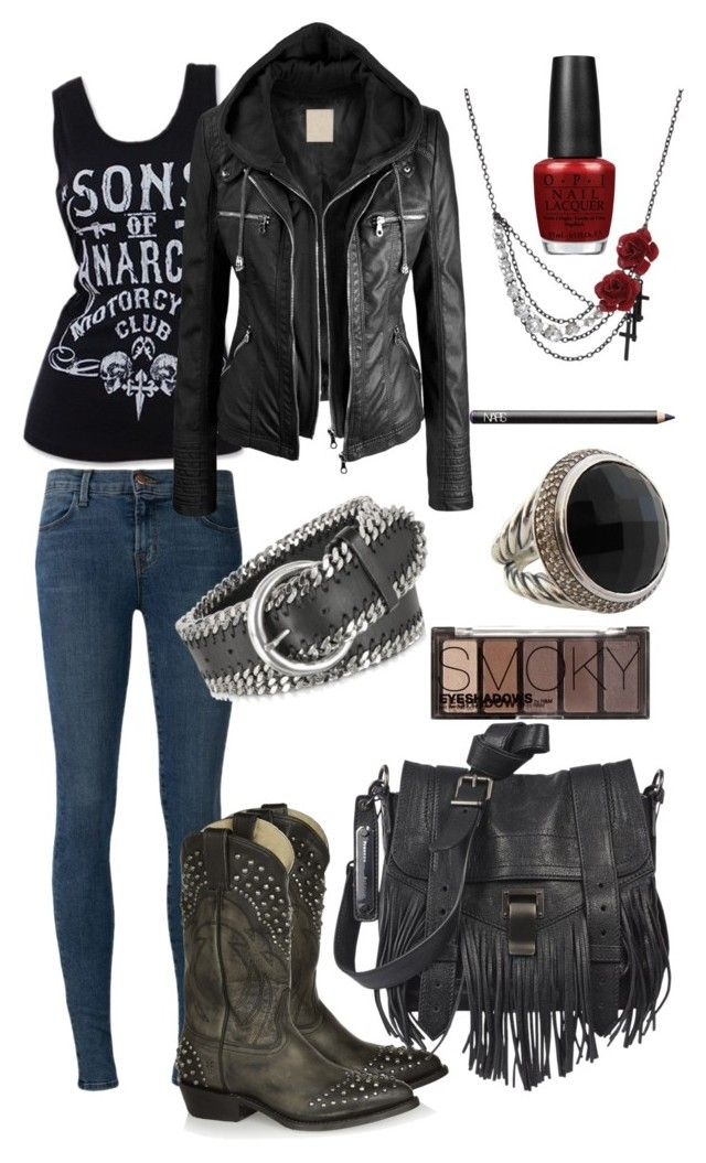 """sons of anarchy inspire outfit"" by nichole42293 ❤ liked on Polyvore featuring J Brand, Frye, Proenza Schouler, Forzieri, H&M, OPI, David Yurman and NARS Cosmetics"