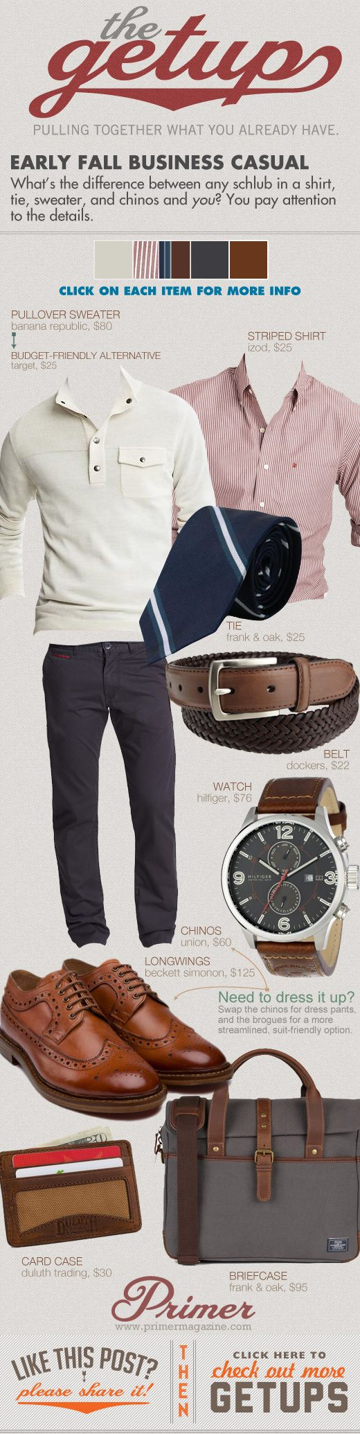The Getup: Early Fall Business Casual | 'What's the difference between any schlub in a shirt, tie, sweater, and chinos and you? You pay attention to the details.'