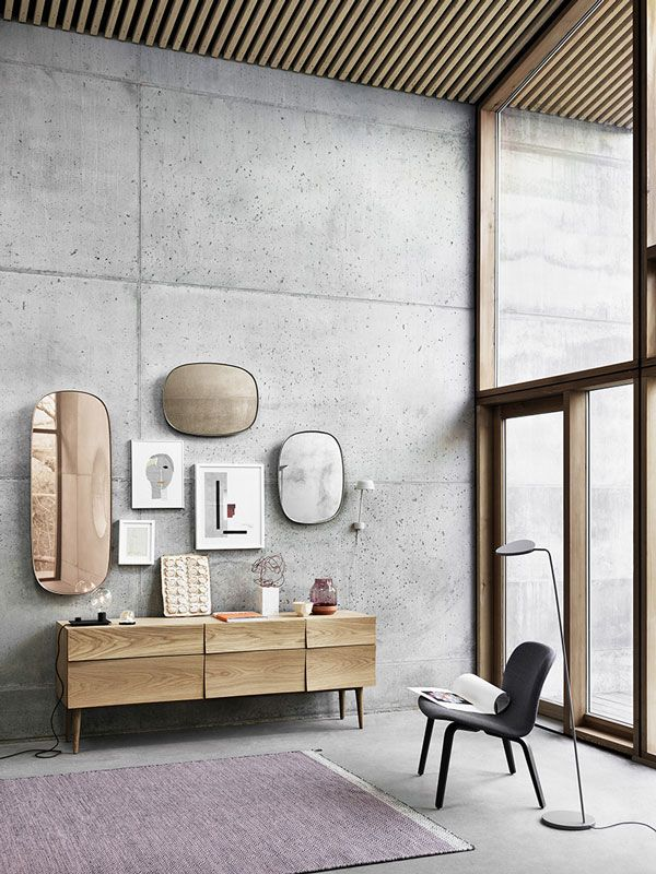 A series of mirrors with tinted glass in grey, rose and taupe - Beautiful!