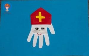 Knutselopdracht - Sinterklaas gemaakt van omtrek van een hand