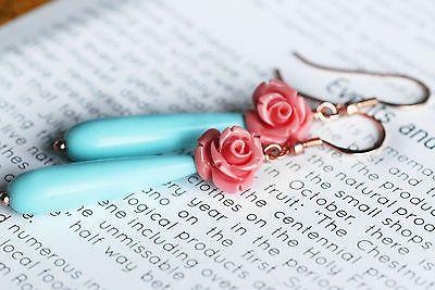Orecchini lunghi  donna goccia turchese rosa corallo turquoise long earrings
