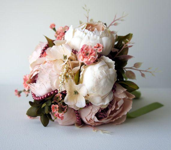 Blush Peony Bridal Bouquet Silk Wedding von FashionTouchWeddings