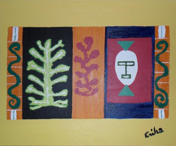 MASQUE  Tableau unique peint en 2006  Technique : Peinture acrylique  La toile est montée sur châssis bois et protégée par un vernis afin de donner une très bonne longévité.