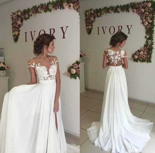 LO0926 Sexy Nude See Through Lace Cap Sleeves Split Long Chiffon Beach Wedding Dresses bridal gown chiffon