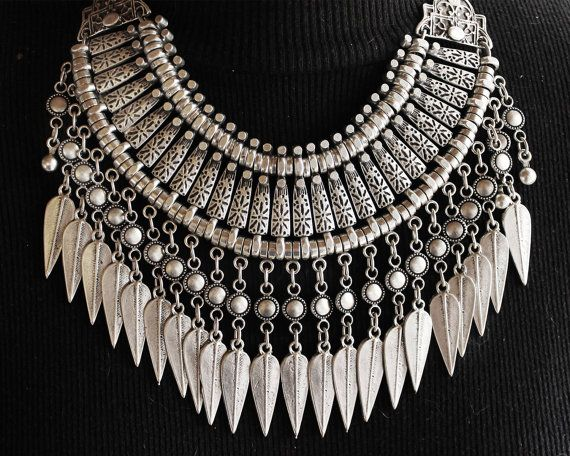 Boho fringe feather necklace - Chunky tribal style silver necklace makes a real statement and also makes a great layering piece. Tribal,