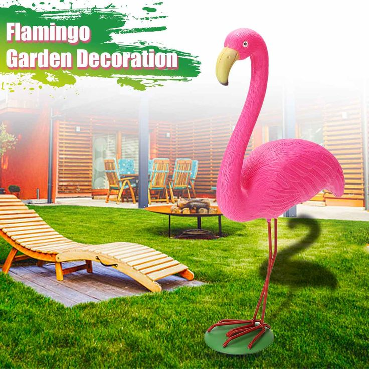 M Size 31x10 5x40cm Pink Flamingo Ornament Set Garden Resin Metal Outdoor Lawn Light Decoration Ornament Home Garden Yard Room In 2020 Flamingo Ornament Lawn Lights Flamingo Garden