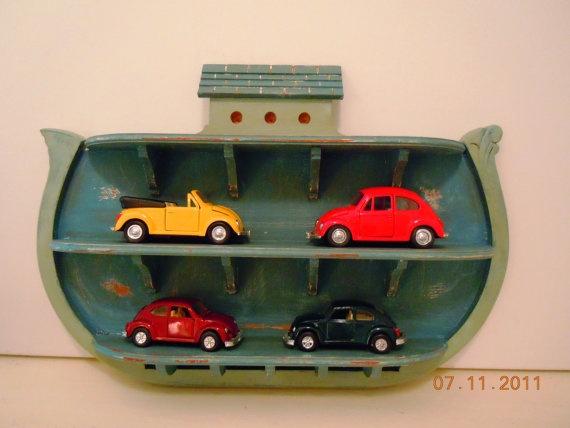 UPcycled Noahs Ark Handpainted Wood Display Shelf