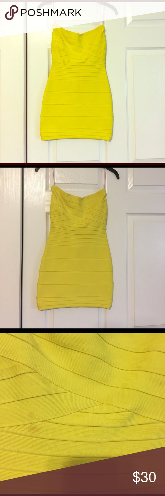 Celebrity boutique bondage dress! Bright yellow bondage dress. Size XS. Worn only once, however, needs to be dry cleaned. I also had it hemmed from its original length. I am 5'2. Great vegas dress! celebrity boutique Dresses Mini