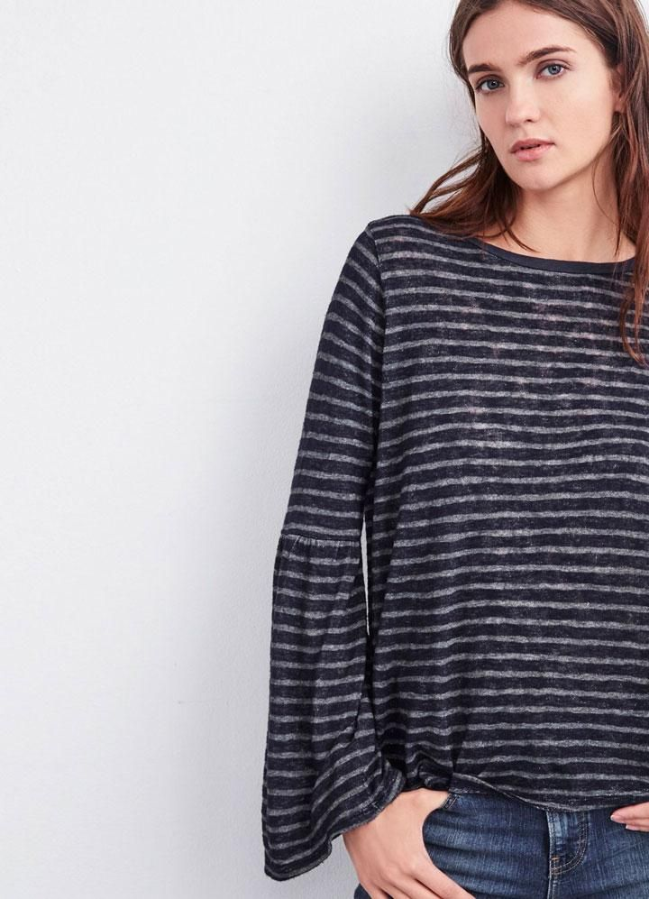 Shop the Zabrina Textured Stripe Bell Sleeve Tee at Art Effect boutique in Chicago. This long sleeve tee from Velvet is given a feminine update with a V-shaped ruffle. Cut in soft texture striped knit. Velvet by Graham and Spencer create soft a