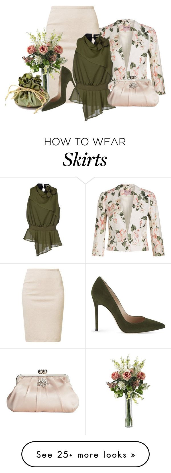 """Pencil Skirt With Blazer"" by malathik on Polyvore featuring Majestic, No-NÃ , Style & Co. and Gianvito Rossi"