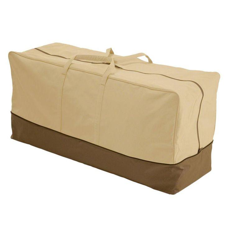 Classic Accessories Veranda X Large Patio Cushion Storage Bag,  Pebble/Brown/Earth