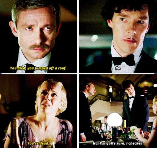 Sherlock. Mary Morstan. John Watson.  And for the life of me I can't take John's mustache seriously