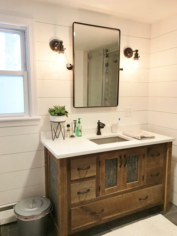 Rustic Bathroom Vanity 50 Reclaimed Barn Wood W Tin Doors