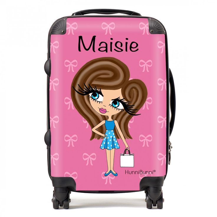 HunniBunni Little Miss Pink Bows Personalised Suitcase