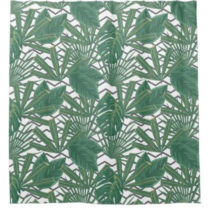 #Tropical Leaf Zig Zag | Shower Curtain - #Bathroom #Accessories #home #living