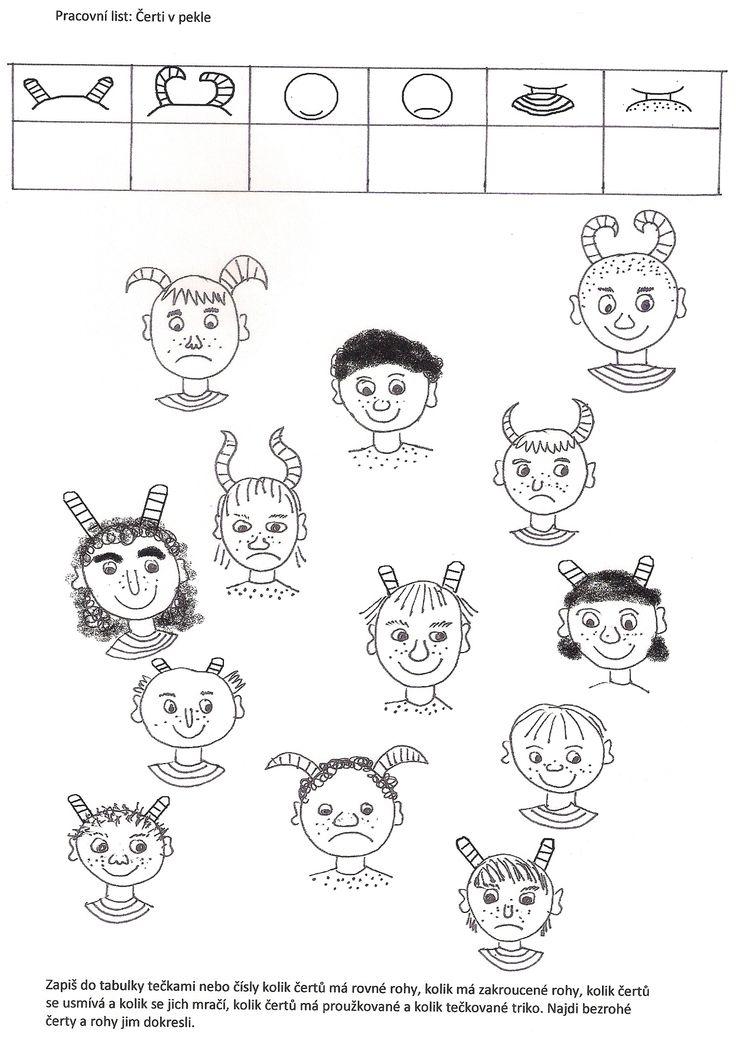 (2015-09) Hvor mange børn har stribede trøjer på? horn? Hvor mange af dem har sur mund?