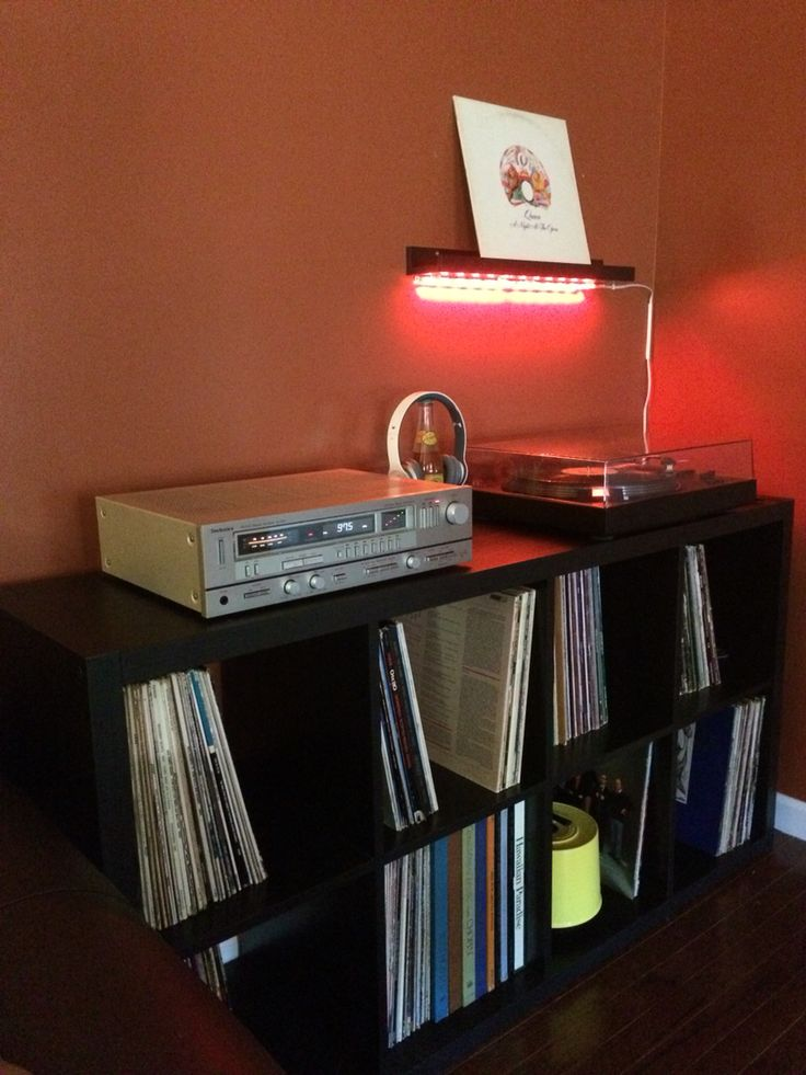 ikea kallax shelf used for vinyl record collection