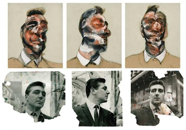 Francis Bacon Triptych of George Dyer with original photos.