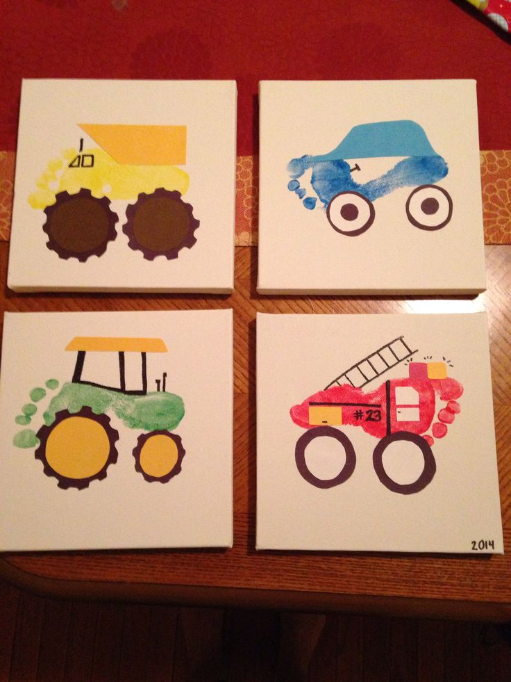 Footprint turned into cars and trucks and tractors for Tractor art projects