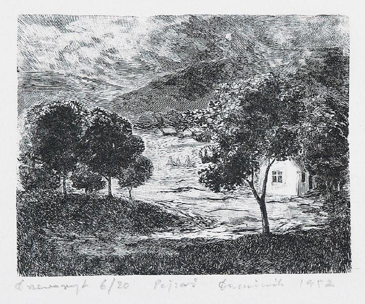 Tadeusz DOMINIK (1928-2014)  Pejzaż, 1952 drzeworyt, bibuła; 10,5 x 13,5 cm (wymiar kompozycji); sygn., dat. i opis u dołu ołówkiem: drzeworyt 6/20 Pejzaż Dominik 1952