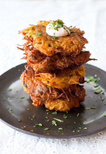 Potato Latkes.  Find this traditional Hanukah recipe at  All About Cuisines