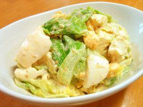 キャベツとゆで卵の和風タルタルサラダ