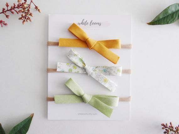 Mini Bias Tape Bow Set – Greenwich /Girl Headband/ Nylon Headband/ Cotton Bows/ Fabric Headband/ Spr