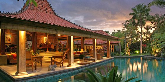 Villa des Indes is built in a unique style and decorated with museum quality Indonesian art. Enter the villa through huge antique doors and across a koi pond to the magnificent centerpiece of the estate, the Joglo....