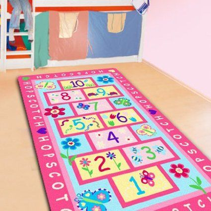 Fashion Hopscotch Kids Carpet Bedroom,Sweet Pink Rug,Designer Figure Children's Rugs