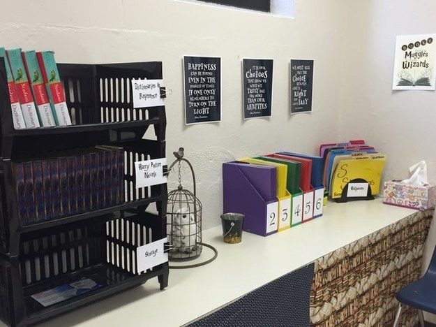And a cozy spot for Hedwig… | This Teacher's Harry Potter-Themed Classroom Is Totally Awe-Inspiring