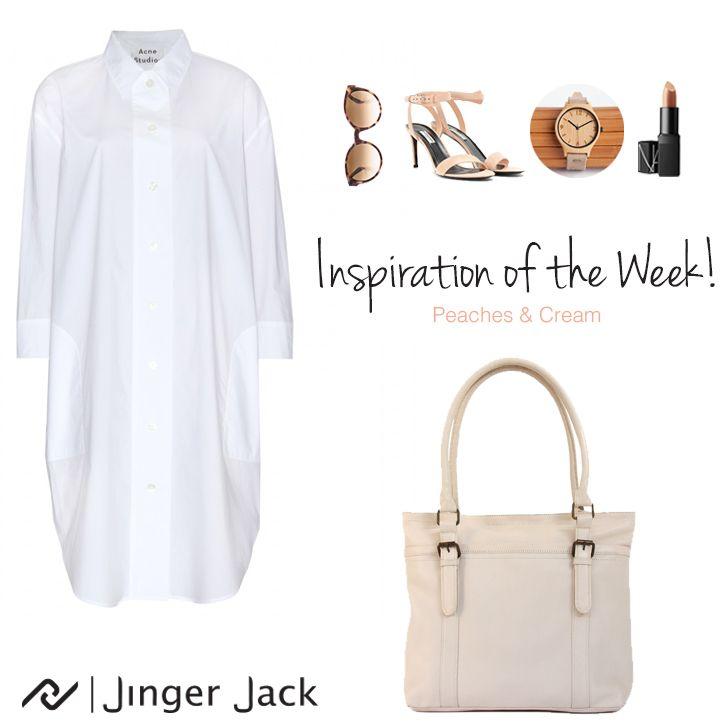 Our Inspiration Look of the Week with our Jinger Jack's Dublin Shoulder bag in Cloud Dancer!   #NiceThingsonEarth #UniversalEleganceDESIGNEDinCapeTown#Leather #LeatherHandbag #ShoulderBag #OOTD #JingerJack #CapeTown #SouthAfrica