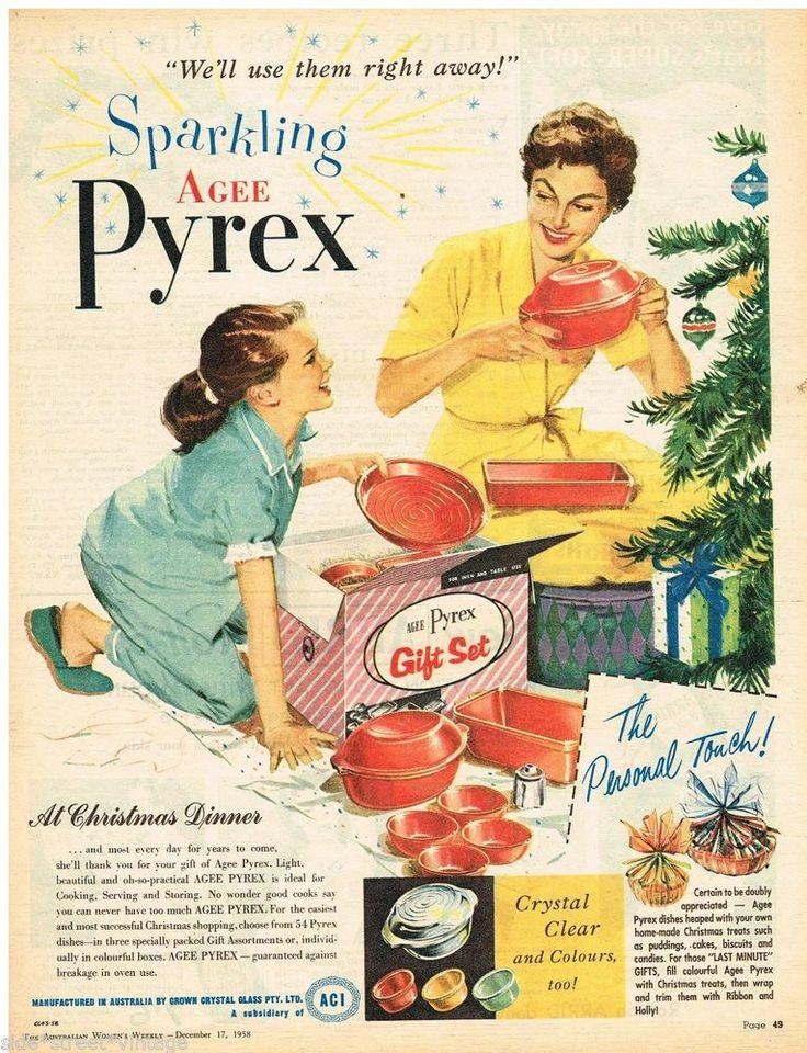 AGEE PYREX AD  RETRO KITCHENALIA PYREX  Vintage Advertising 17 DEC 1958 Original