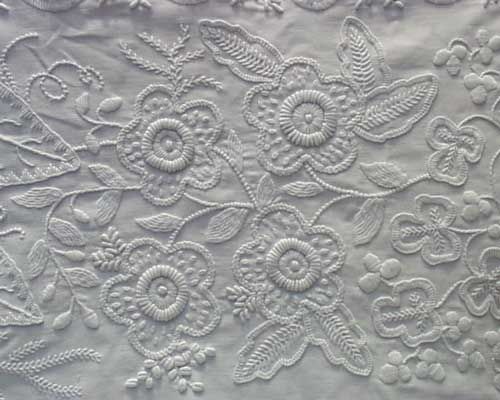 Mountmellick embroidery dogrose motif. For more information on Mountmellick: http://islandireland.com/Pages/folk/mountmellick/embroidery.html