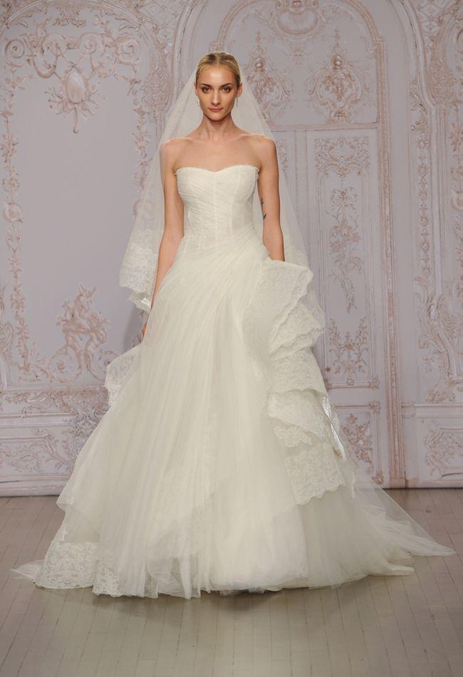 Unique Cascading Ruffle Wedding Dress Monique Lhuillier Fall blog theknot