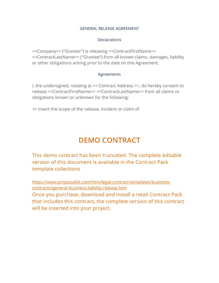 General Release Agreement - The General Release Agreement is used by one party to release another party from responsibility or liability for something. This is a general business release short form. Hundreds of specialty contracts available from ProposalKit.com (come over, learn more and Like our Facebook page to get a 20% discount)