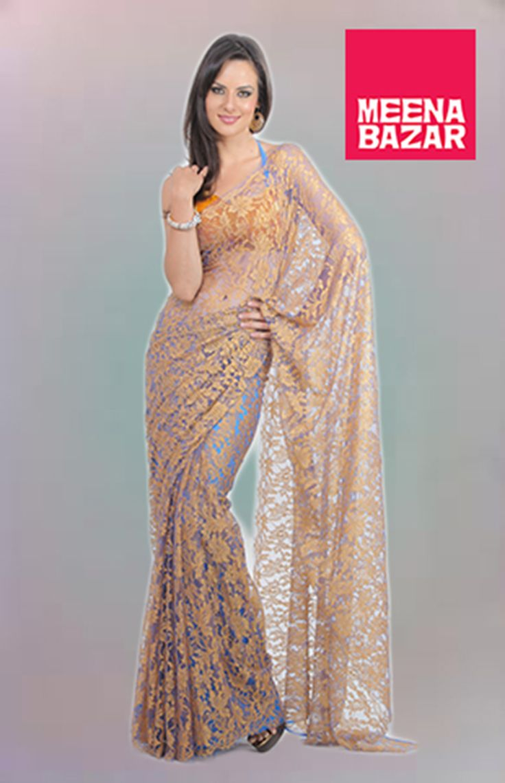 CHANTILLY lace saree , wear different color slip and blouse to show the lace