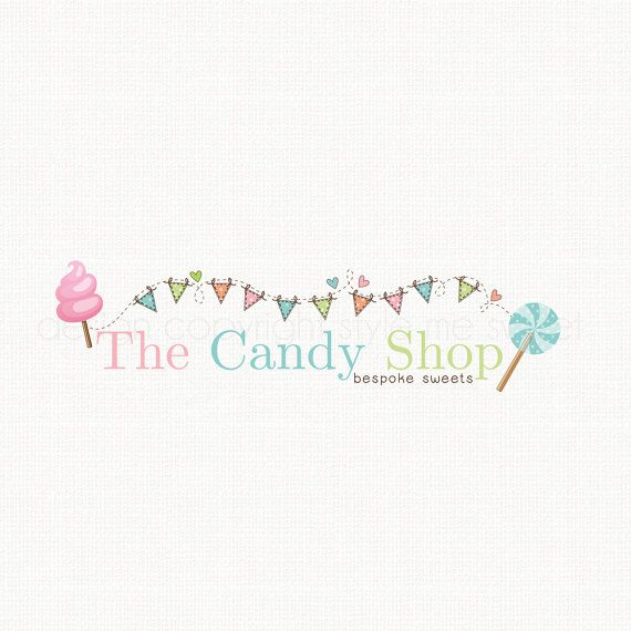 Premade Candy Logo Party Logo Design Lollypop Logo by stylemesweetdesign