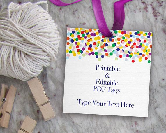 printable gift tag confetti tag template editable favor tag